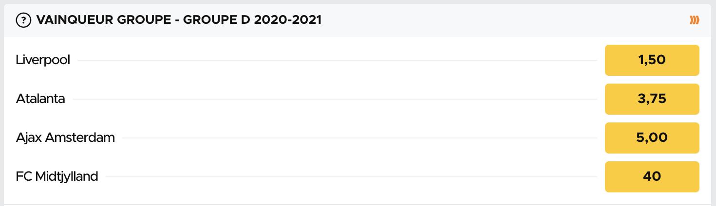 Cotes pour le vainqueur du groupe D de la Ligue des Champions 2020-2021