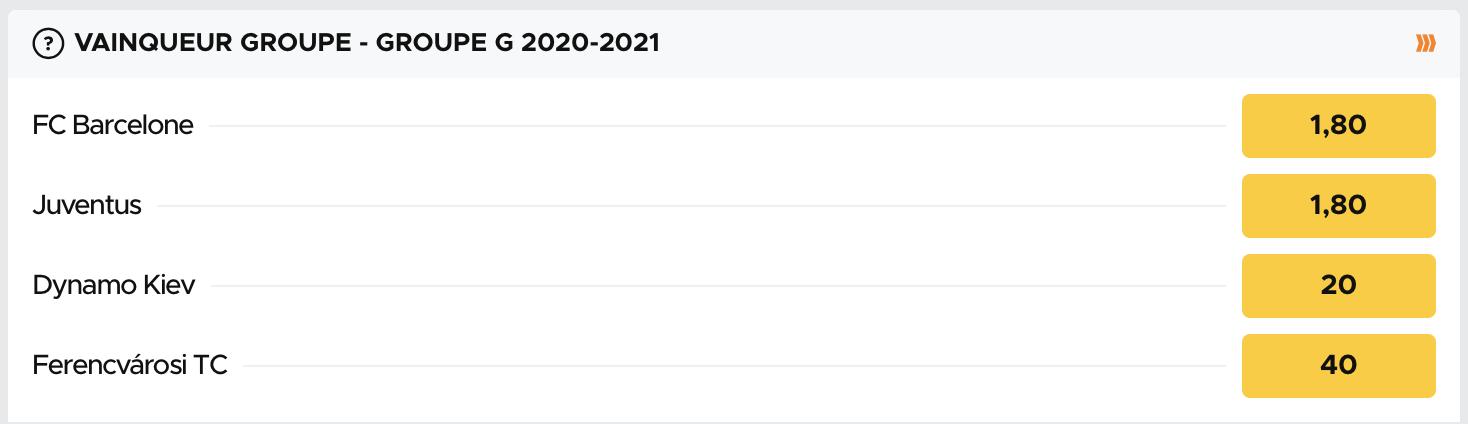 Cotes pour le vainqueur du groupe G de la Ligue des Champions 2020-2021