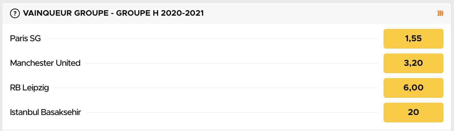 Cotes pour le vainqueur du groupe H de la Ligue des Champions 2020-2021