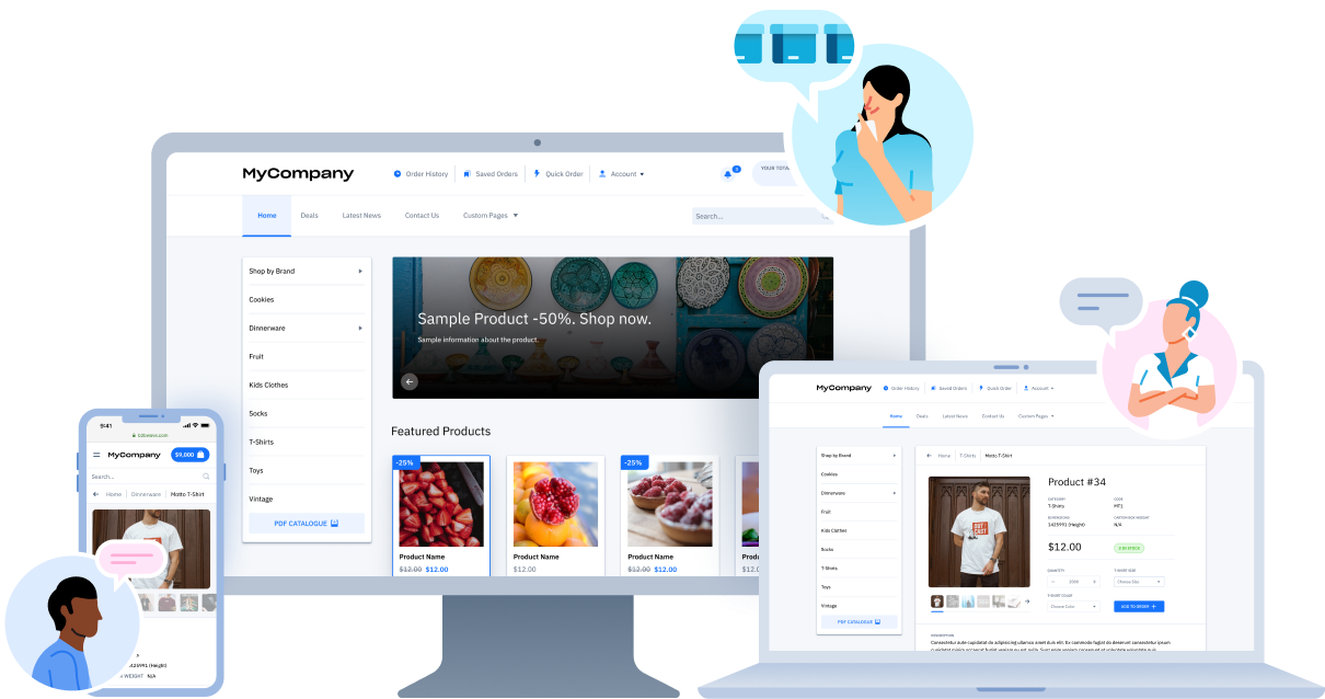 B2B ecommerce wholesale portal screenshot with different views