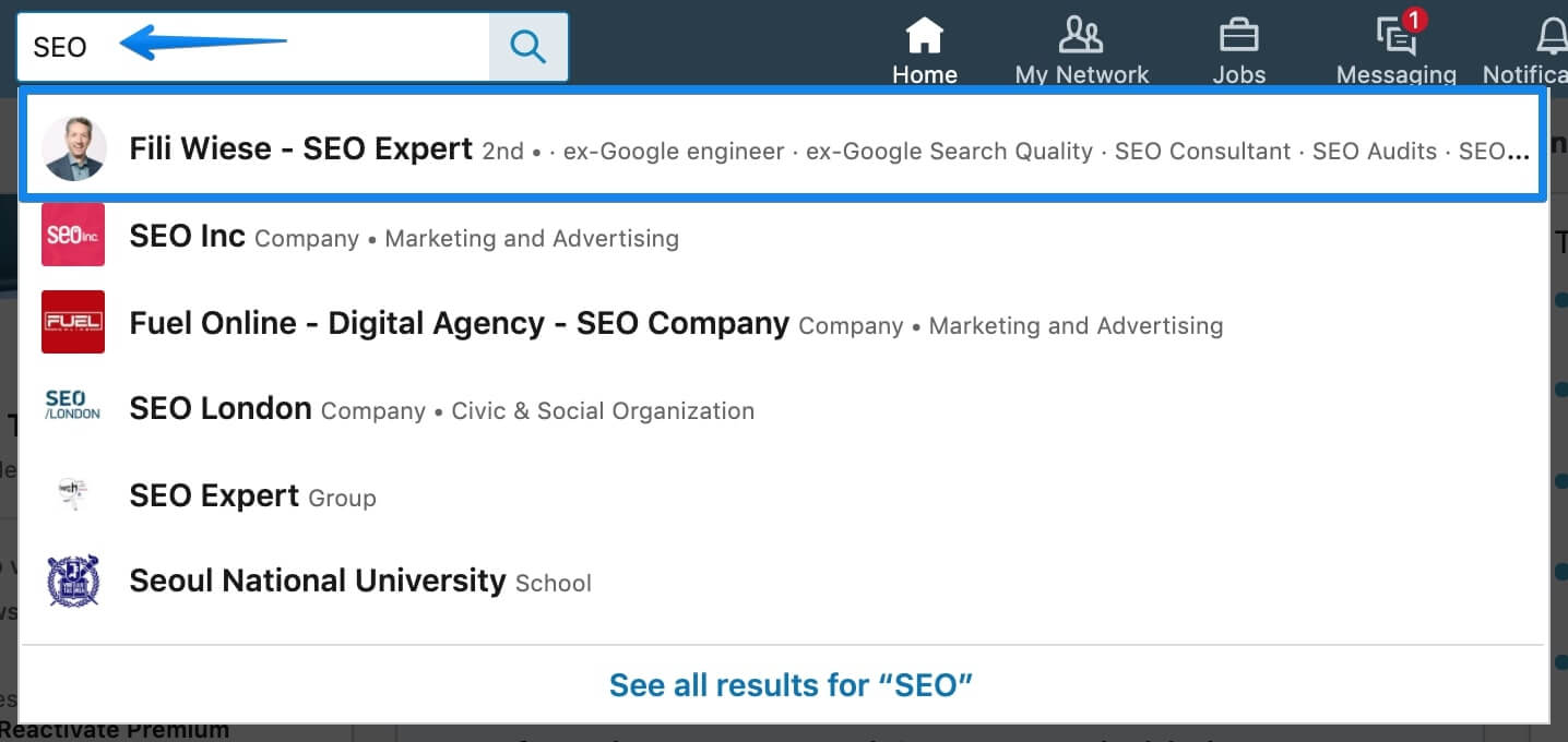 Linkedin Search Field searching for SEO