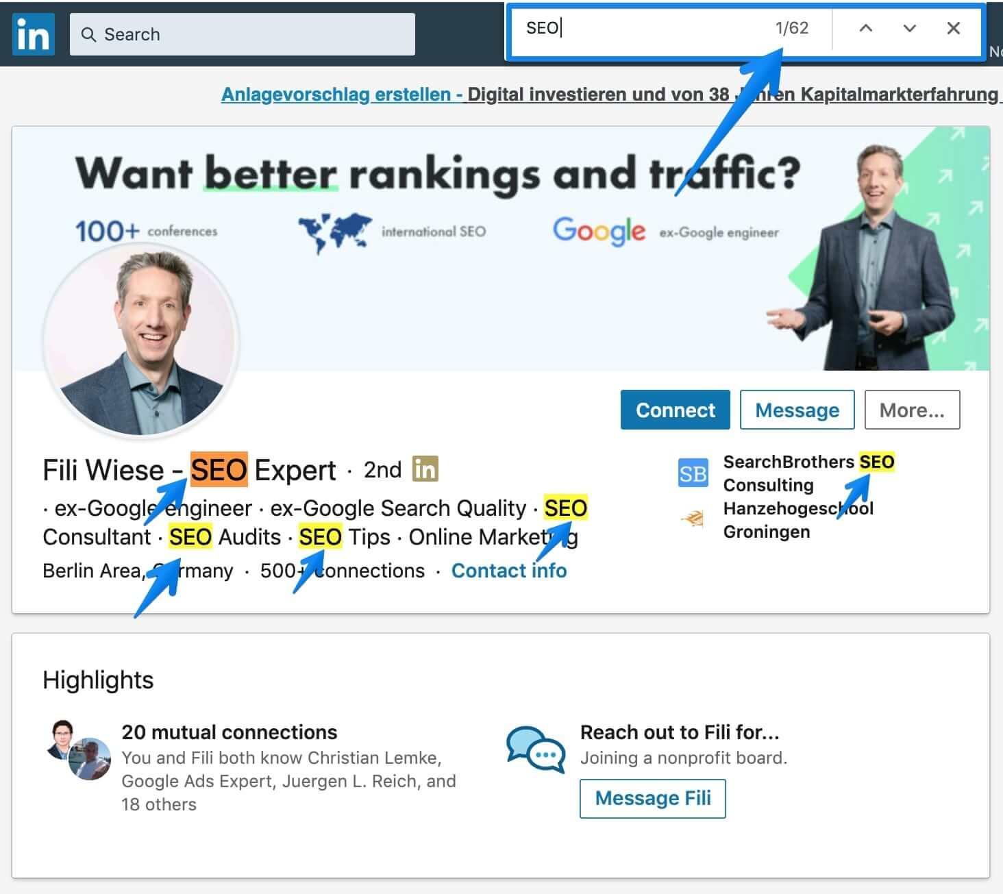 Optimized Linkedin Profile with over 62 keywords