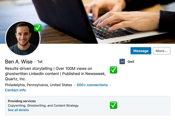 A example of a well optimized Linkedin profile headline and description