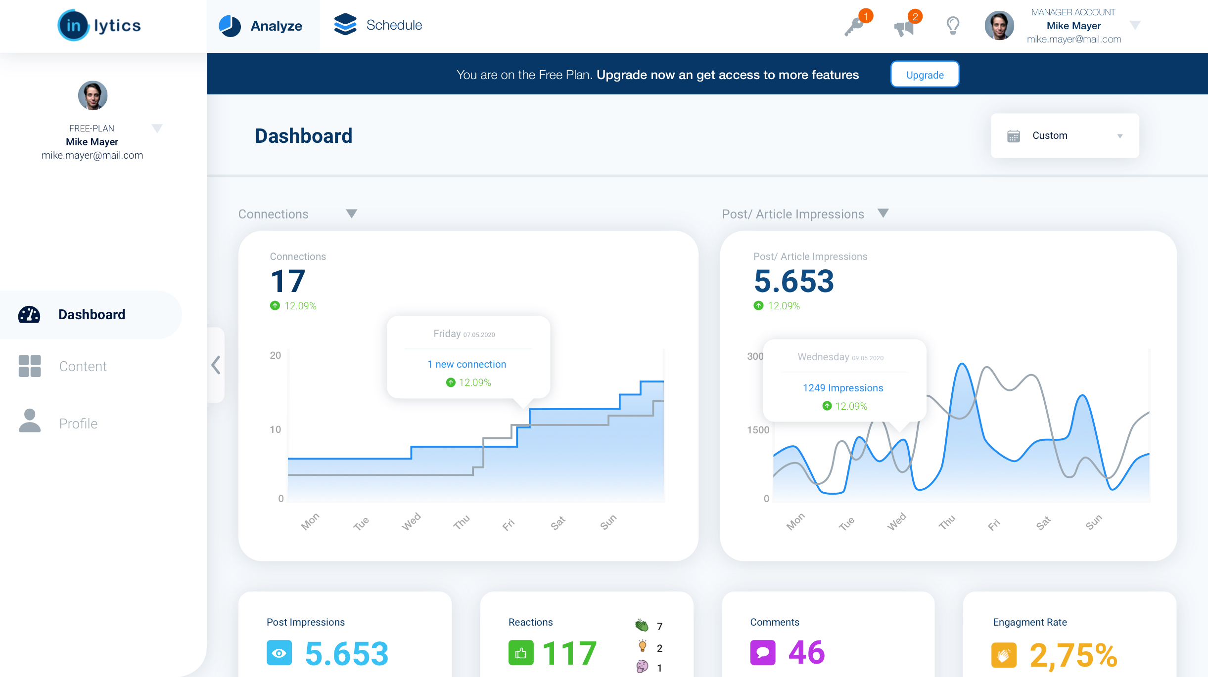 LinkedIn Analytics Dashboard inlytics.io