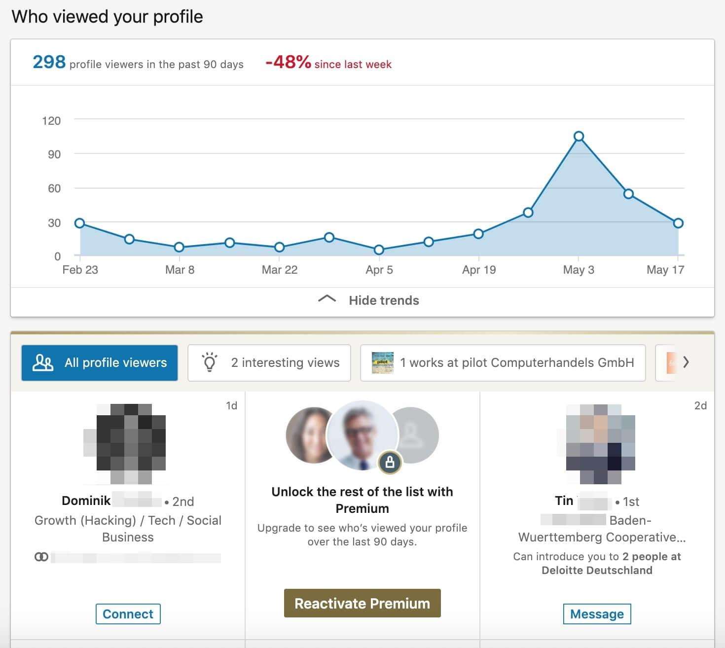 LinkedIn Profile Stats Dashboard
