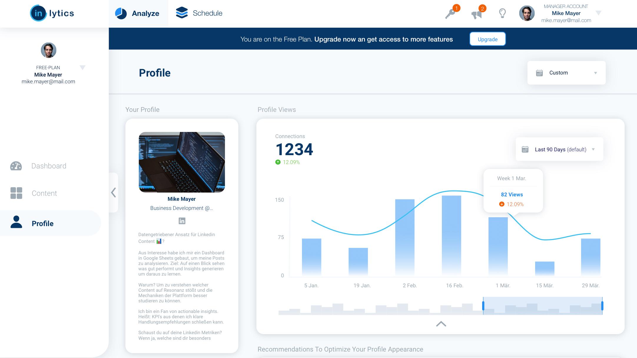 inlytics LinkedIn dashboard