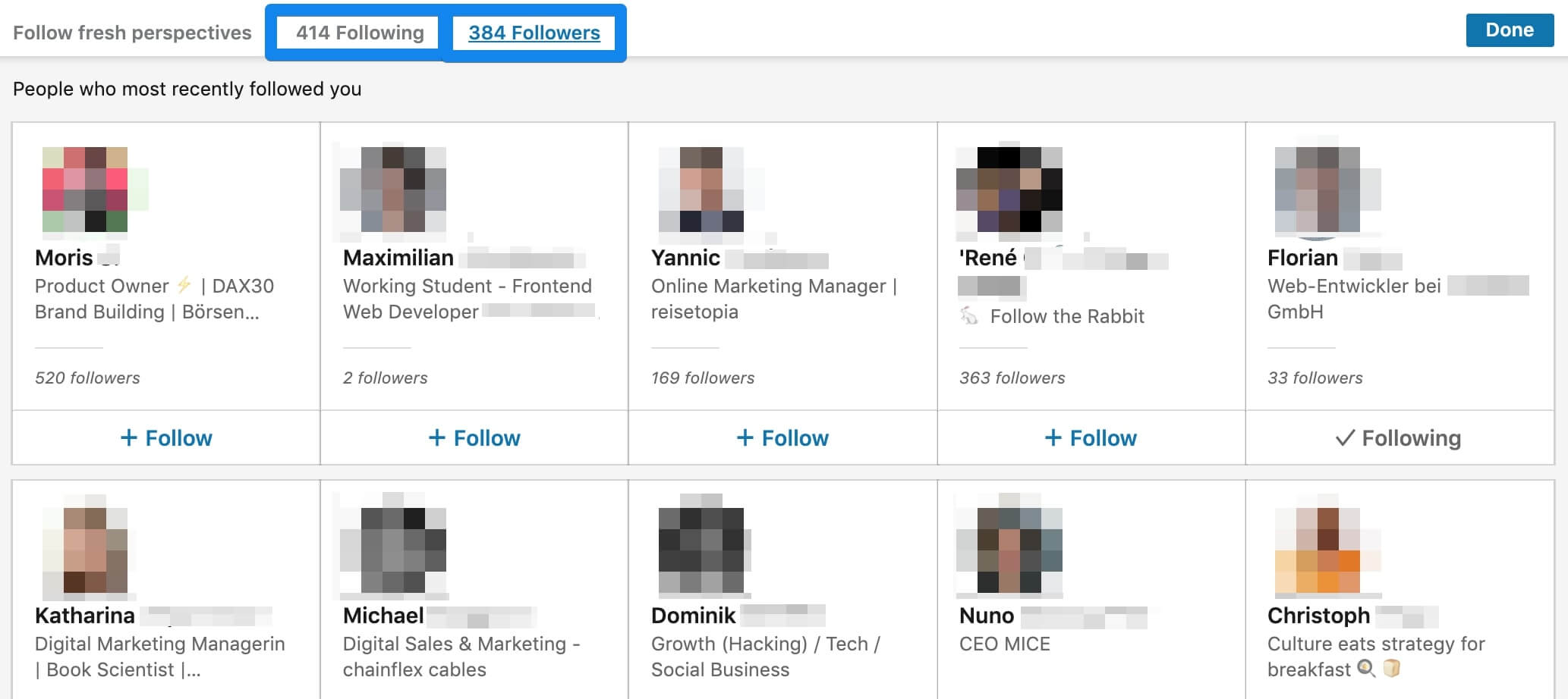 LinkedIn amount of Follower