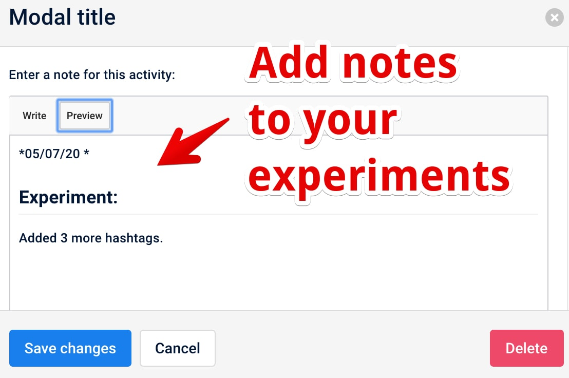 Notfield in inlytics: Add notes to your experiment