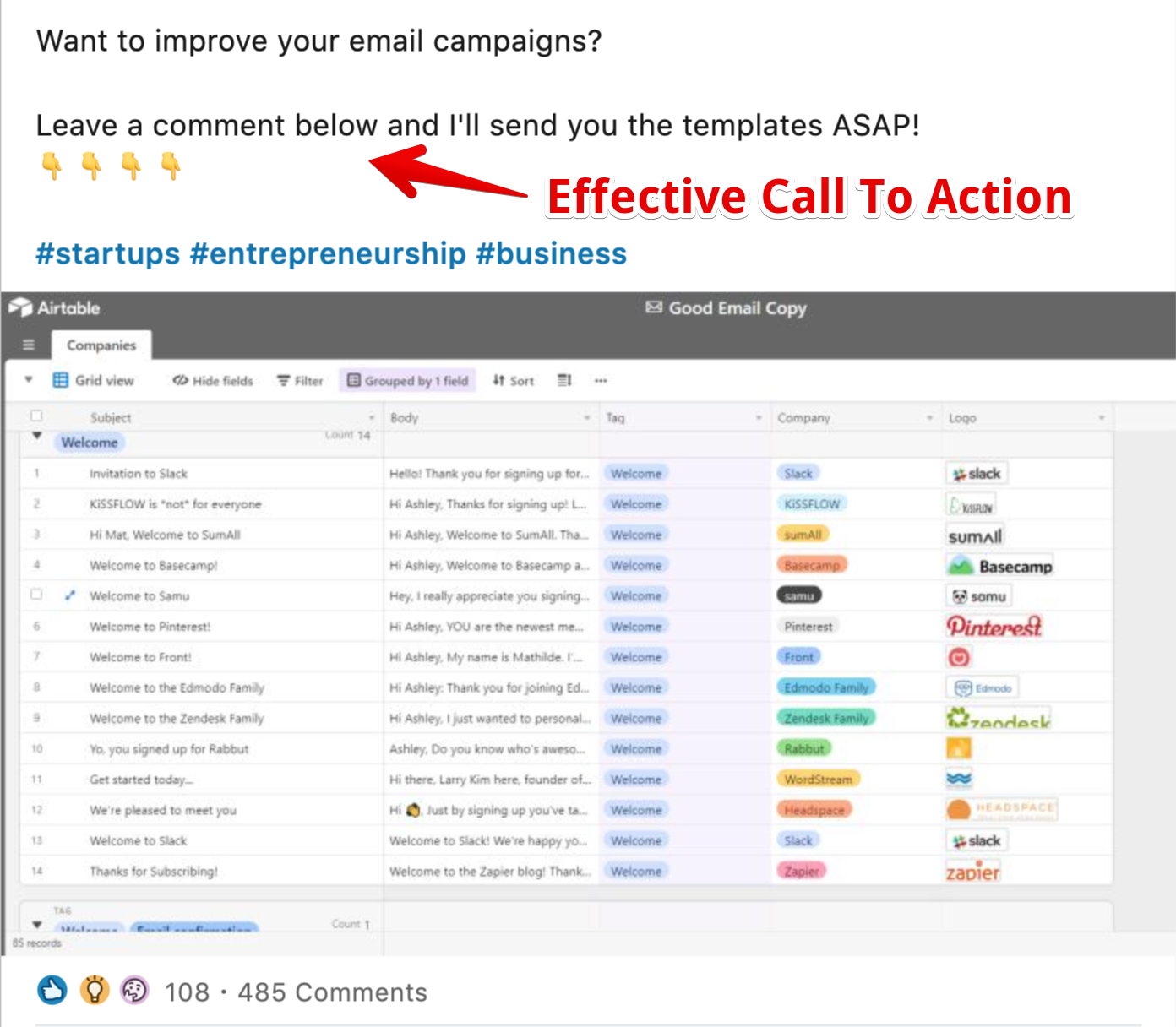 LinkedIn Call To Action positive example many Engagements