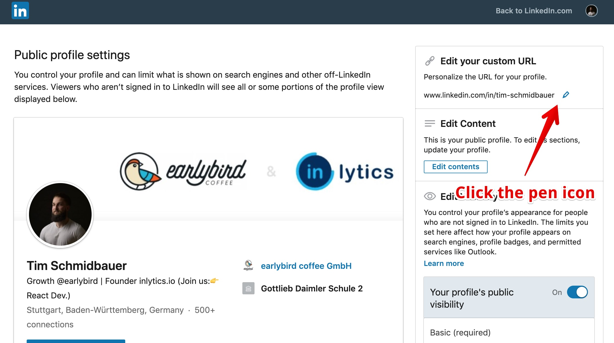 LinkedIn profile url customization - edit url by clicking the pen icon