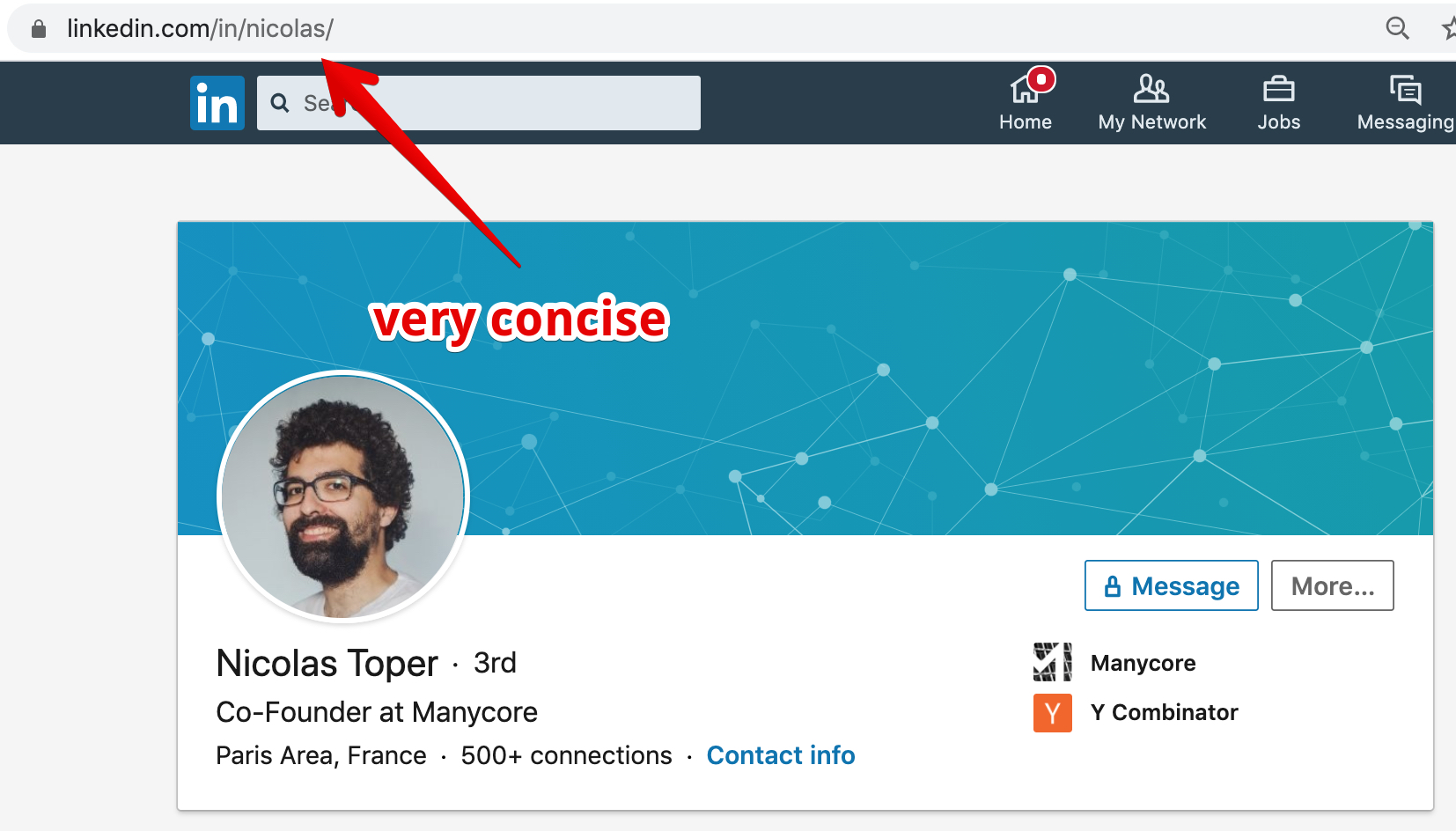 Example of male using personalized LinkedIn profile URL