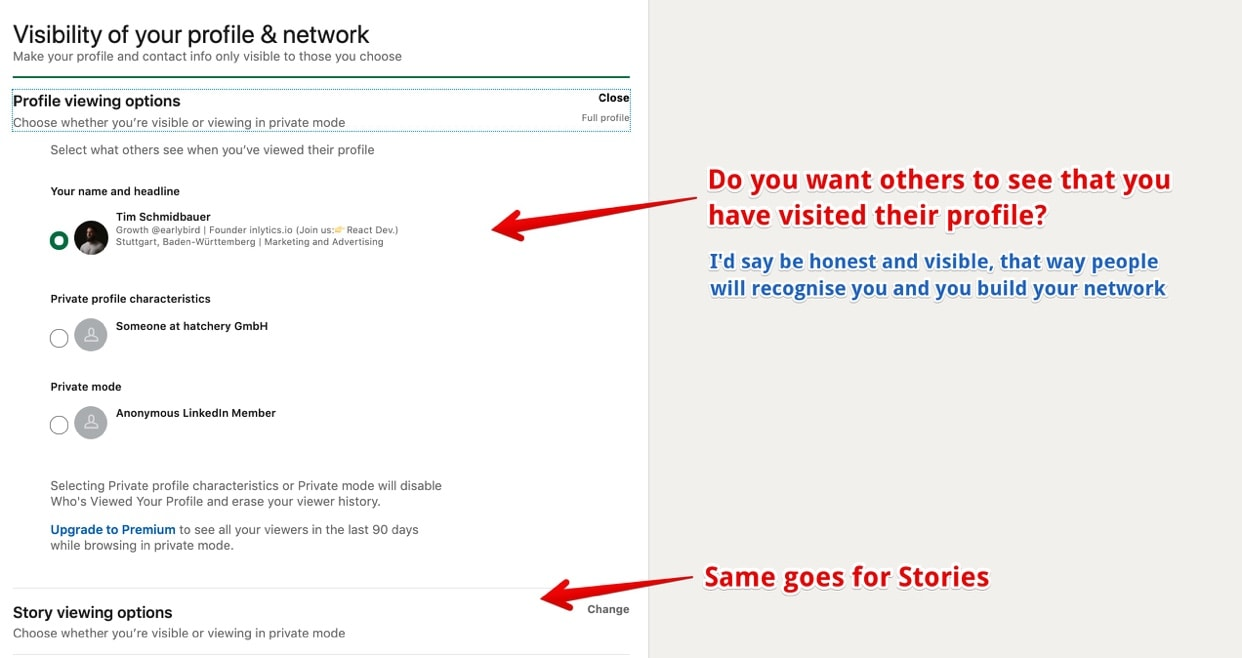 How you want to appear to others when visiting other LinkedIn profiles