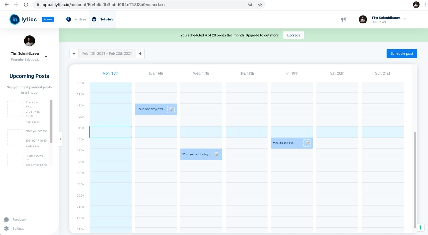 inlytics LinkedIn Analytics Tool with post scheduling feature