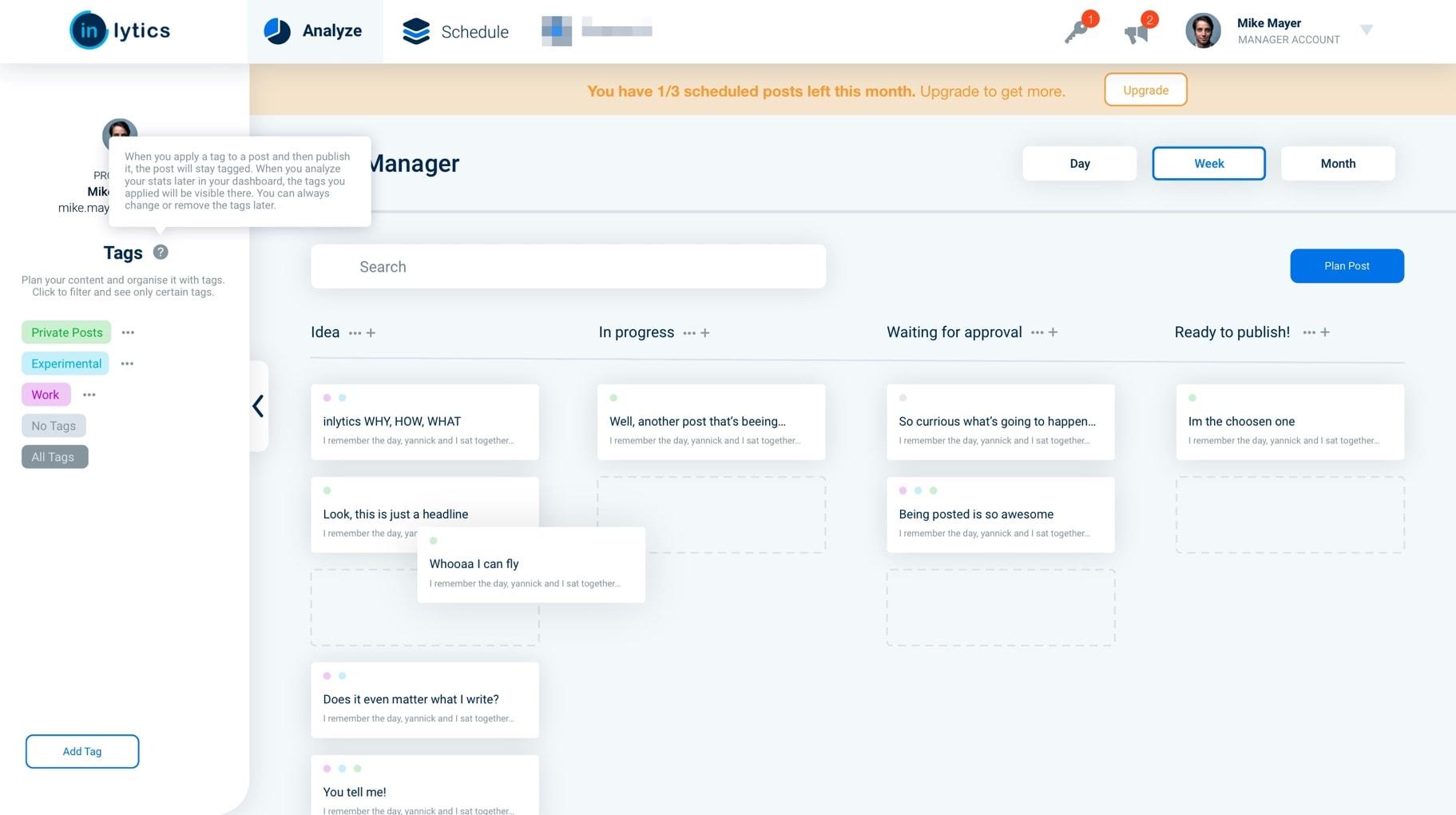 inlytics LinkedIn Analytics draft for content planning