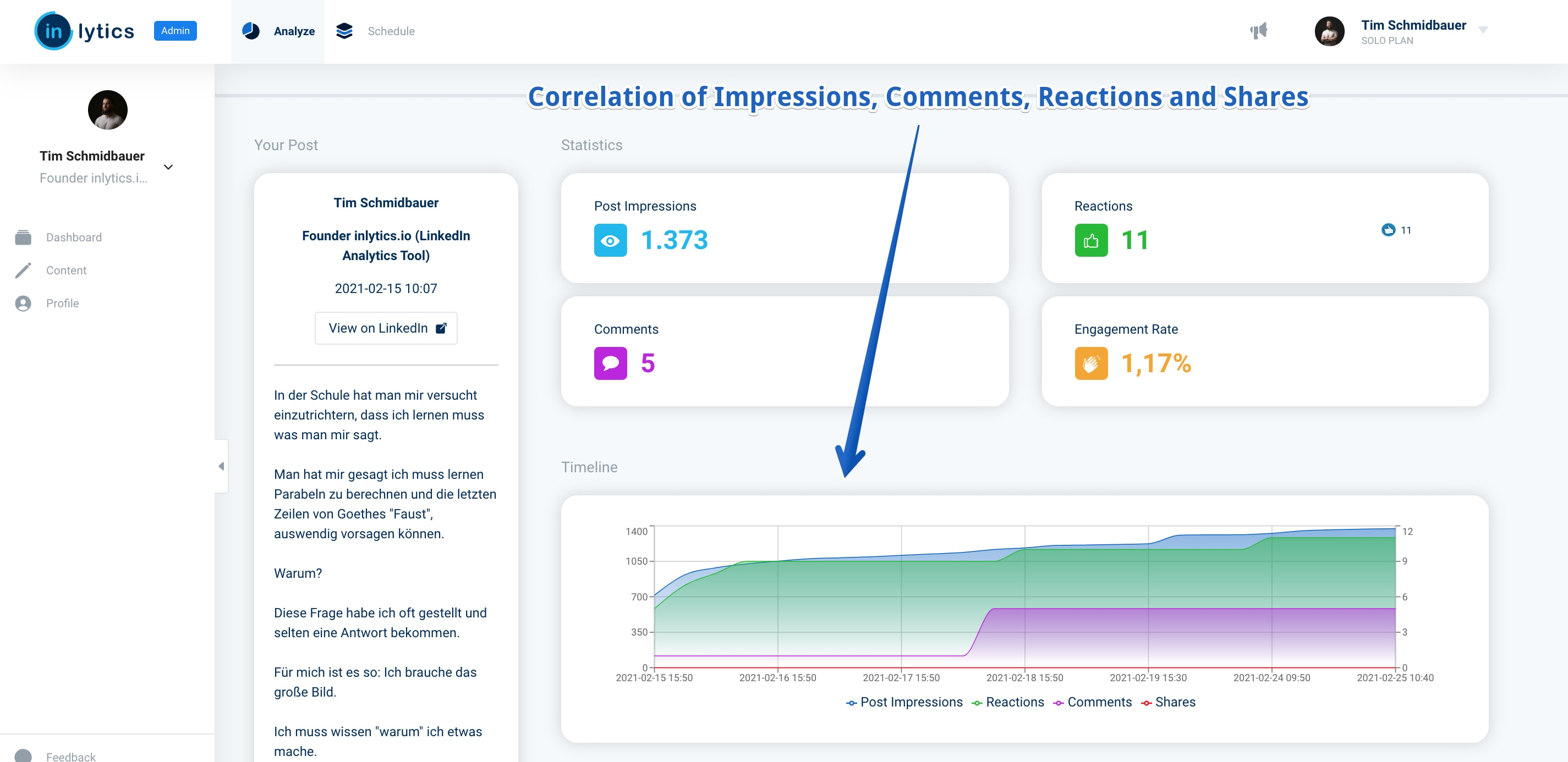 detailed LinkedIn content metrics in inlytics app