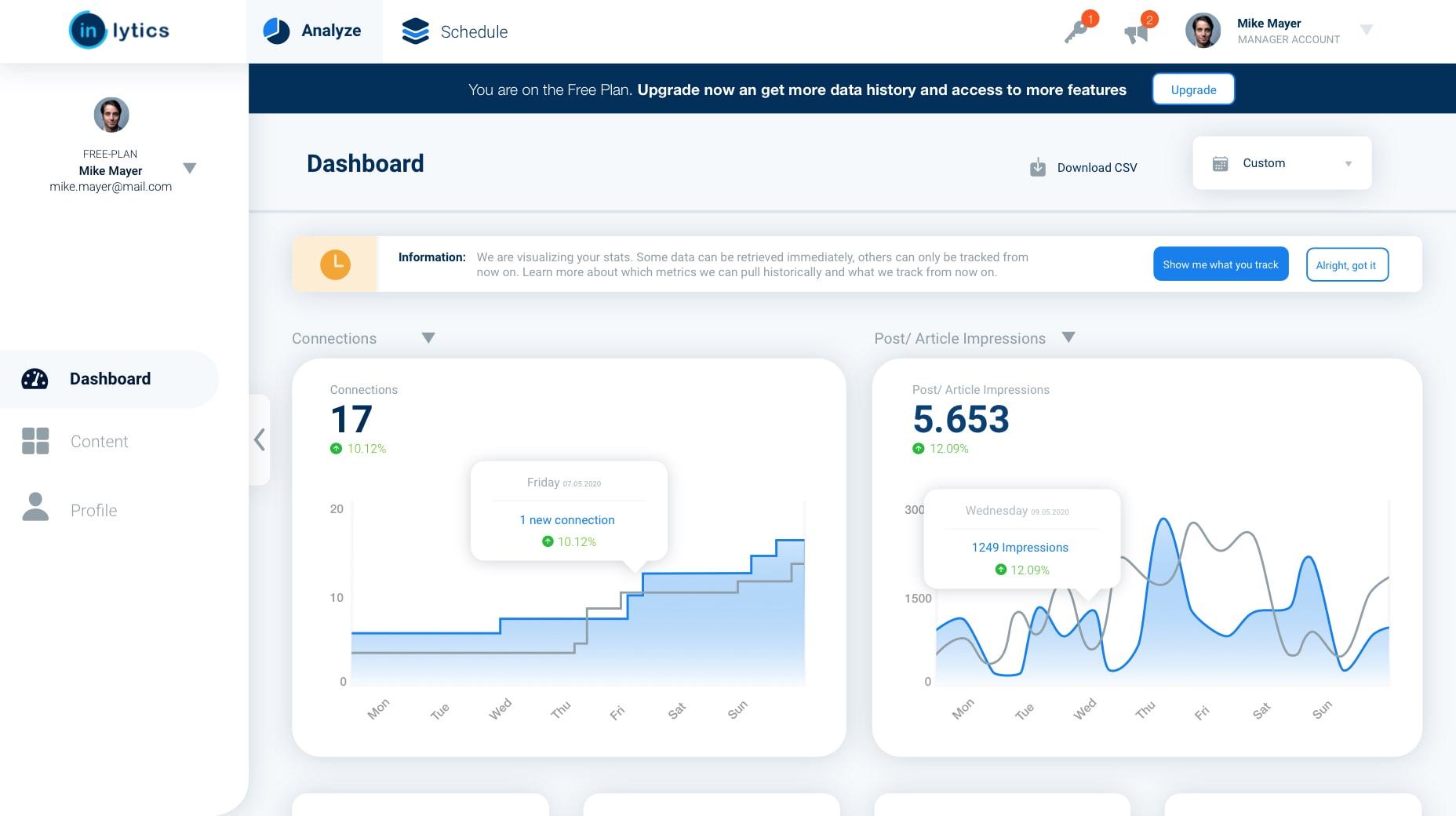 LinkedIn Analytics Dashboard for personal profiles
