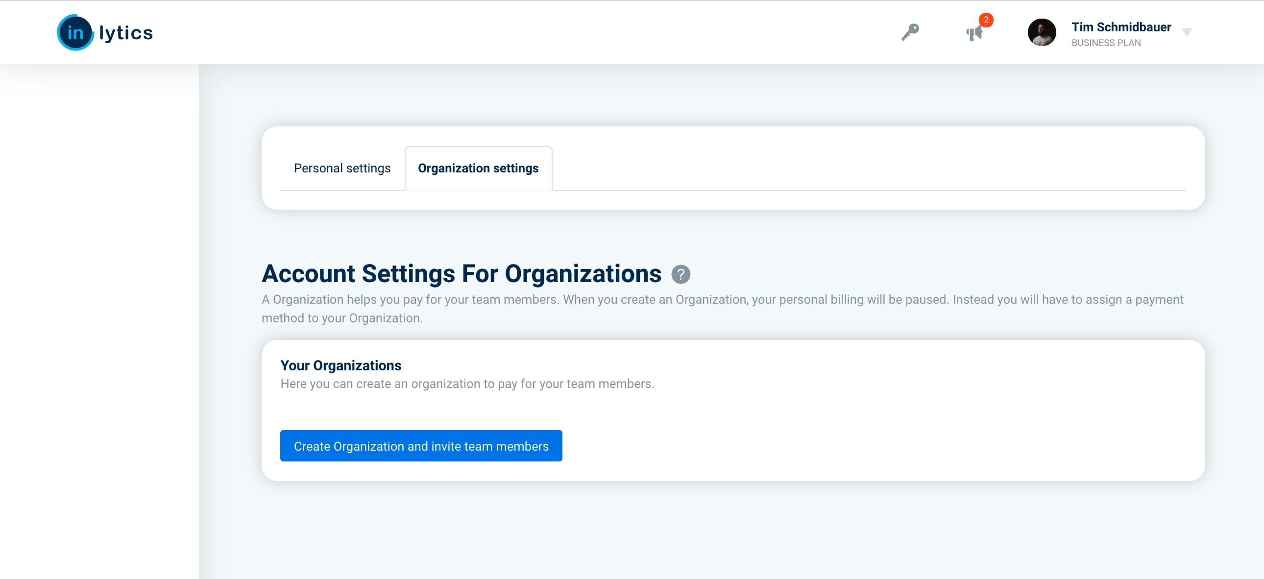 How to add a organization in inlytics - navigate to your settings