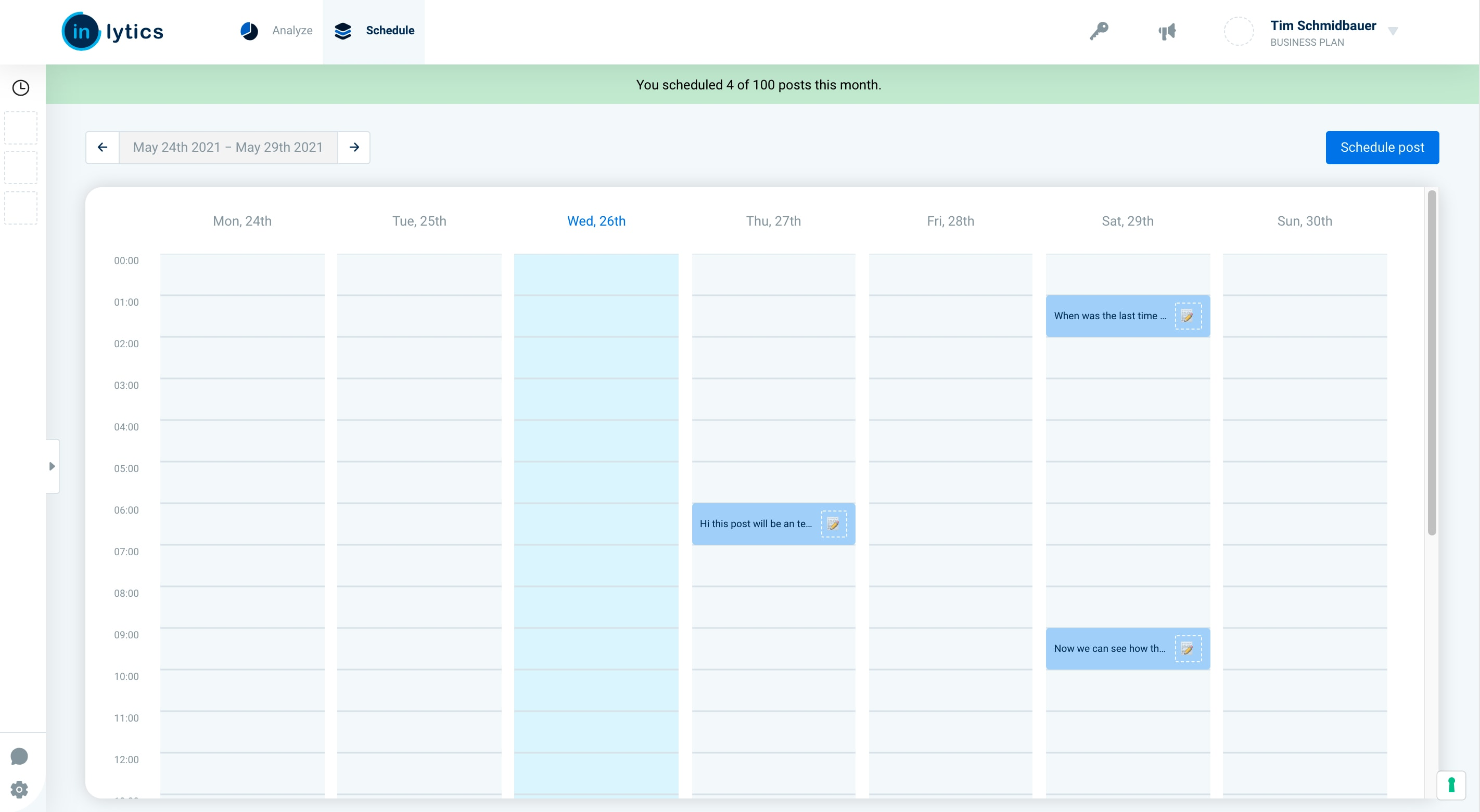 LinkedIn Analytics Tool inlytics with content scheduling feature