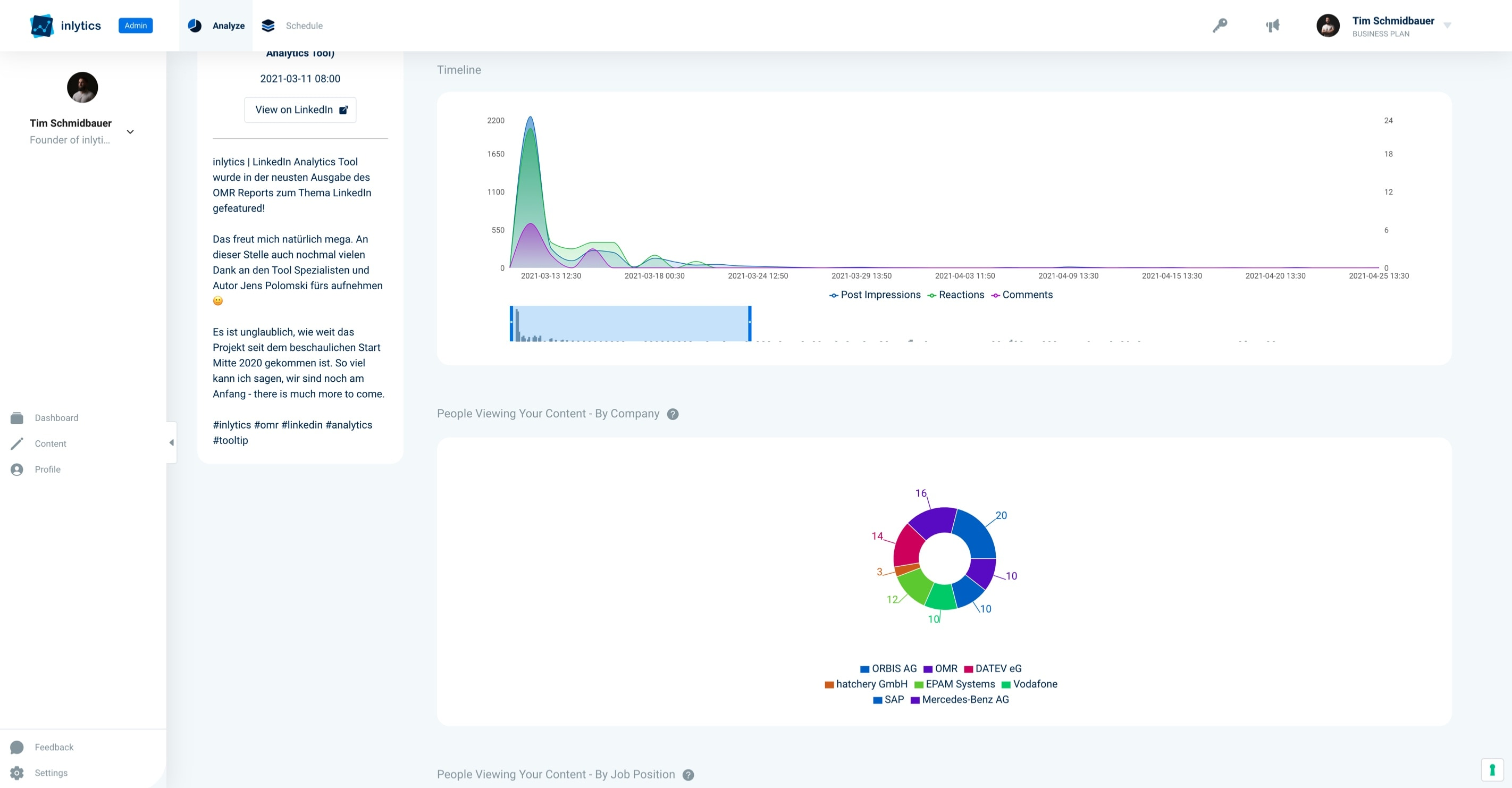 LinkedIn Analytics Tool inlytics for personal branding and companies