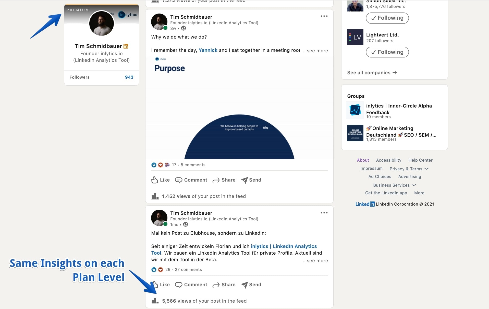 LinkedIn native post analytics feature for normal and premium plan