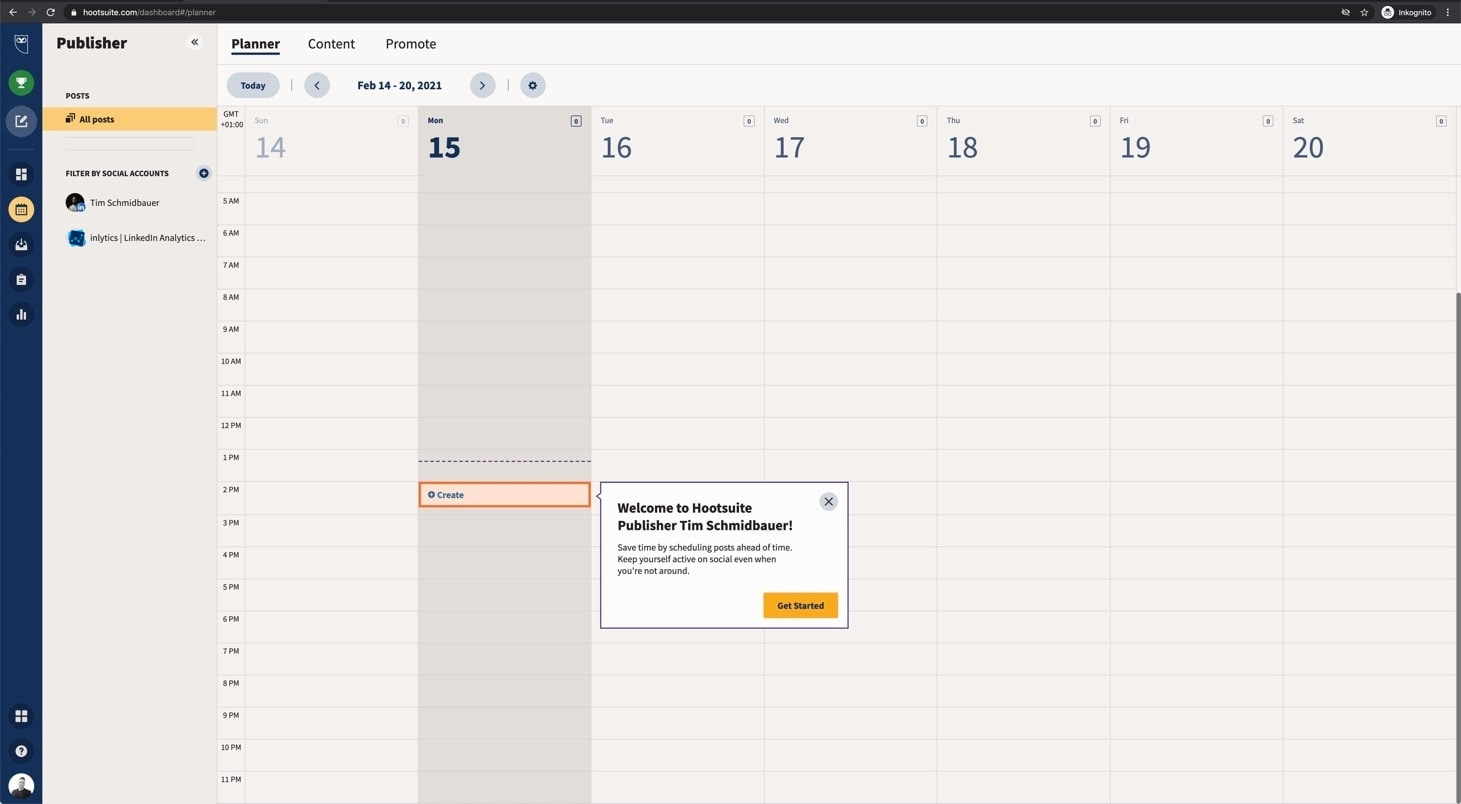 hootsuite dashboard for publishing content on Linkedin