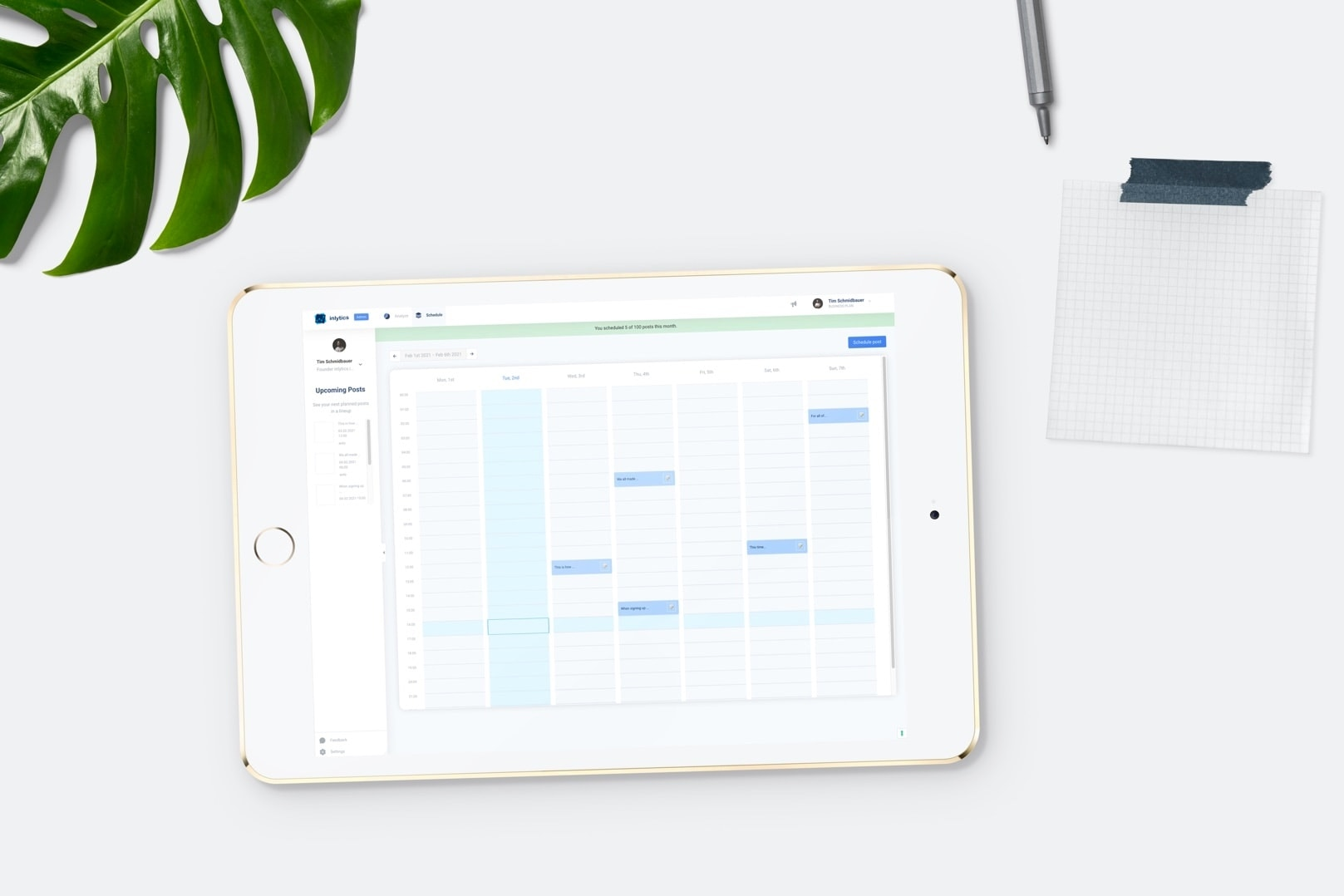 LinkedIn Analytics Tool inlytics with post scheduling tool