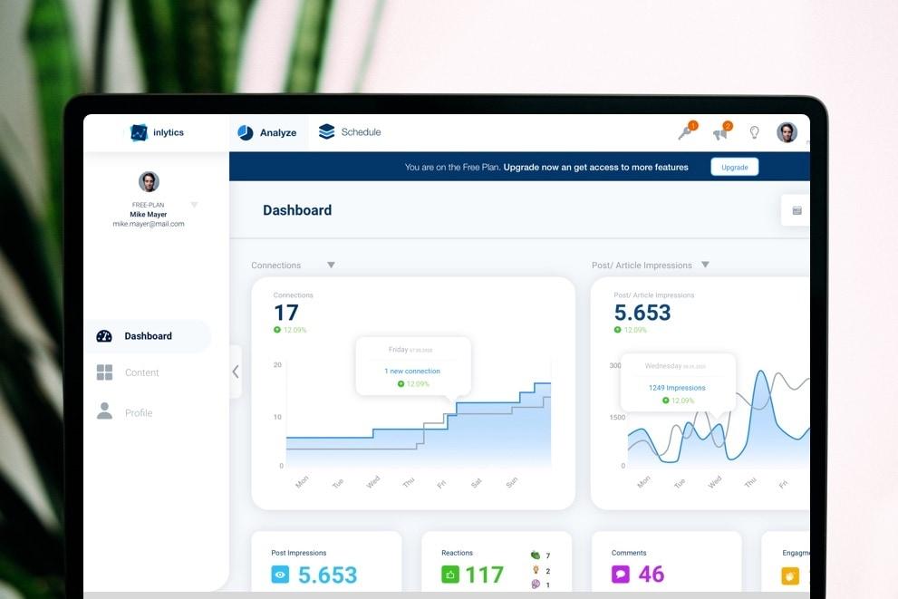 LinkedIn Analytics Tool inlytics.io on mac