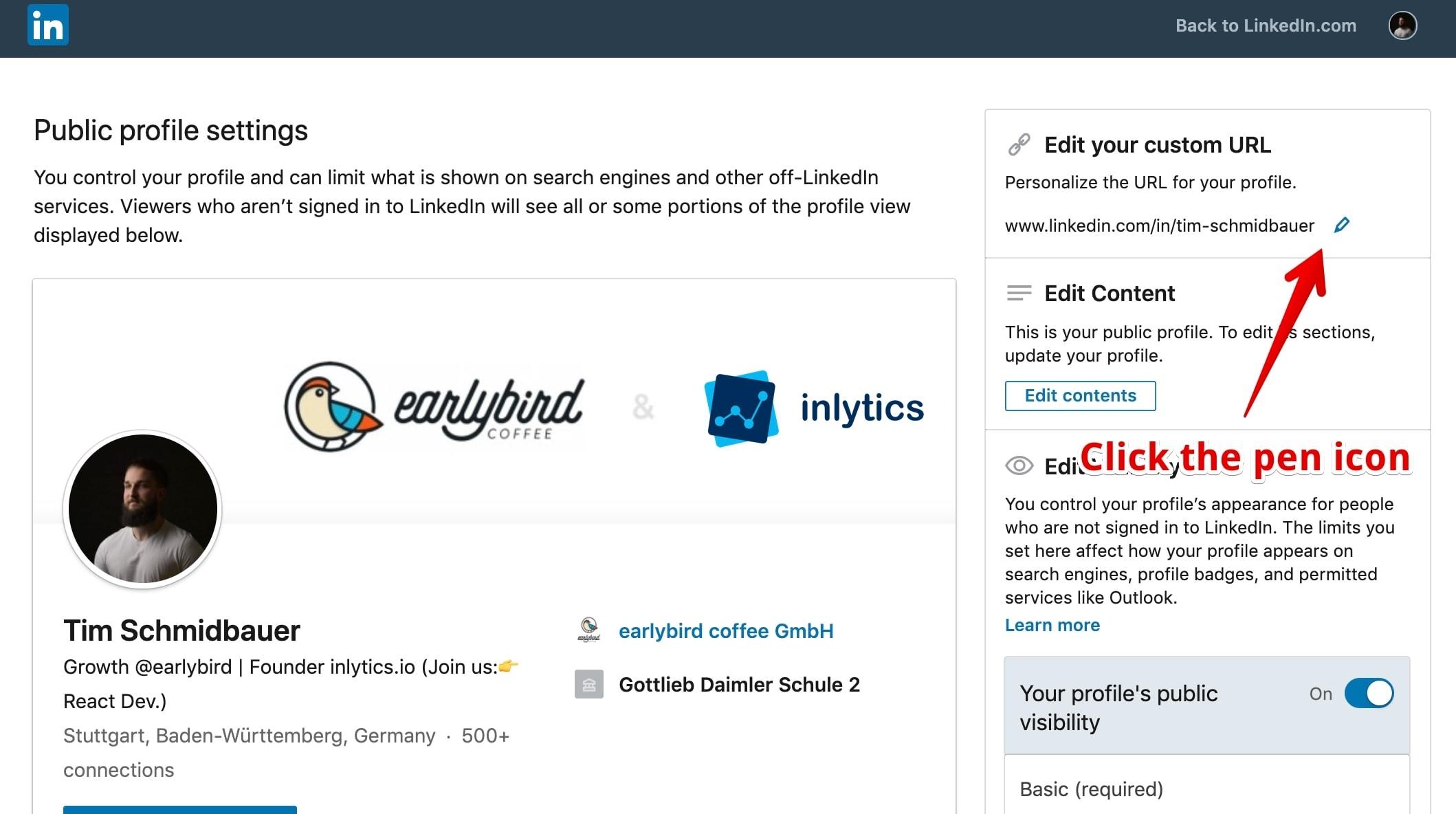 LinkedIn profile url customization - edit url by clicking the pen icon