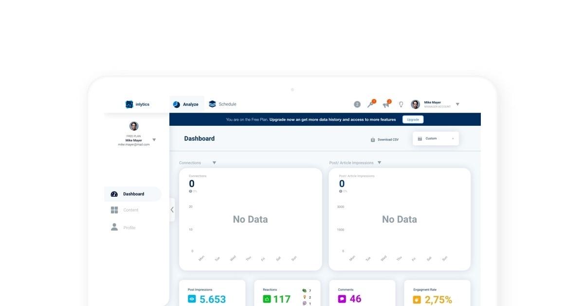 inlytics dashboard LinkedIn Analytics no data help