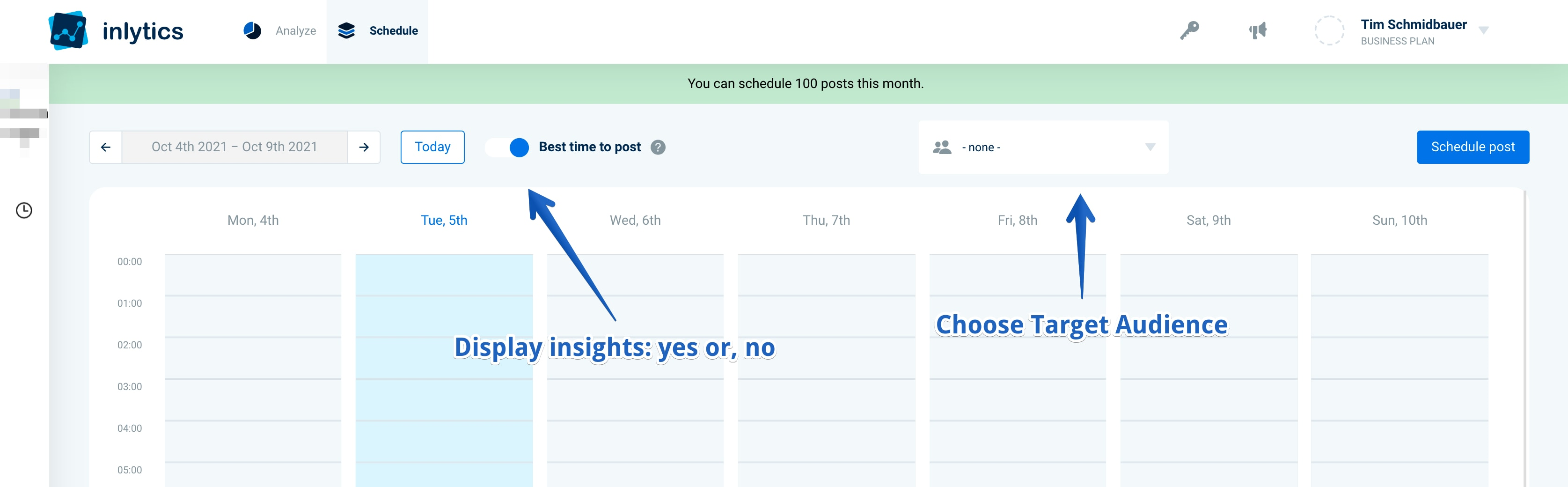 LinkedIn content scheduling tool with audience insights