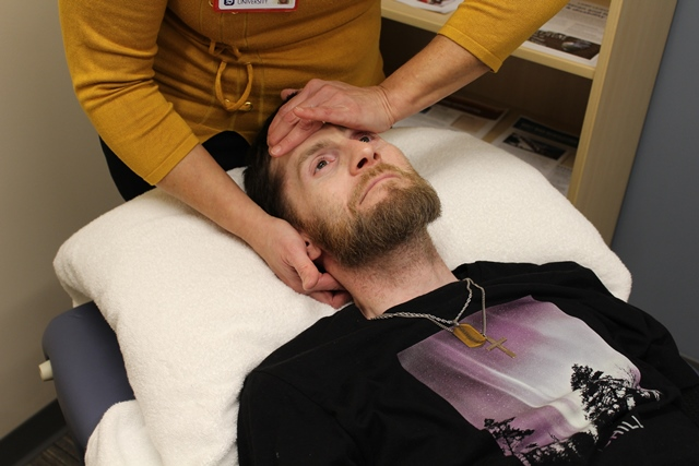Patient undergoes 'Positional Release Therapy'