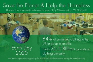 "earth day flyer stating ""help the Homeless"" and save the planet"