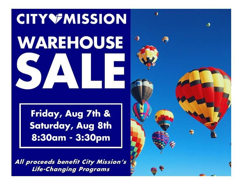 City Mission's Summer Warehouse Sale - Aug 7, 8 - 8:30am to 3:30pm
