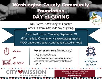 WCCF Gives flyer detailing specifics about the event.
