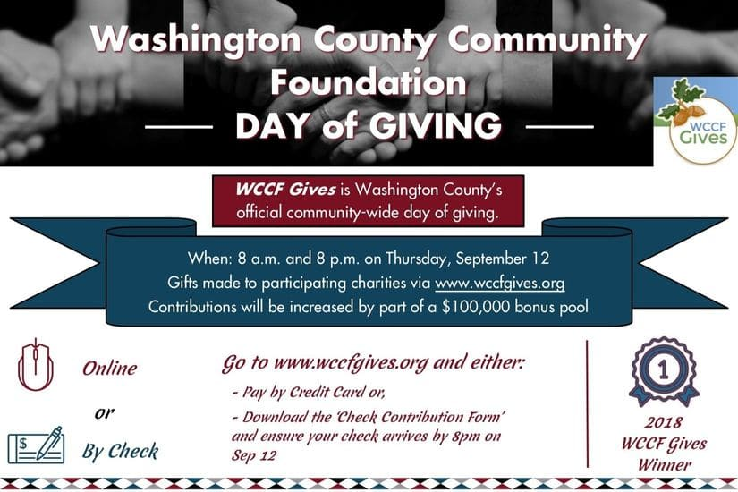 graphic giving details of WCCF Gives Day