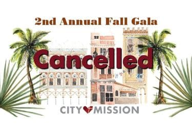 graphic representing City Mission's Havana Fall Gala cancellation