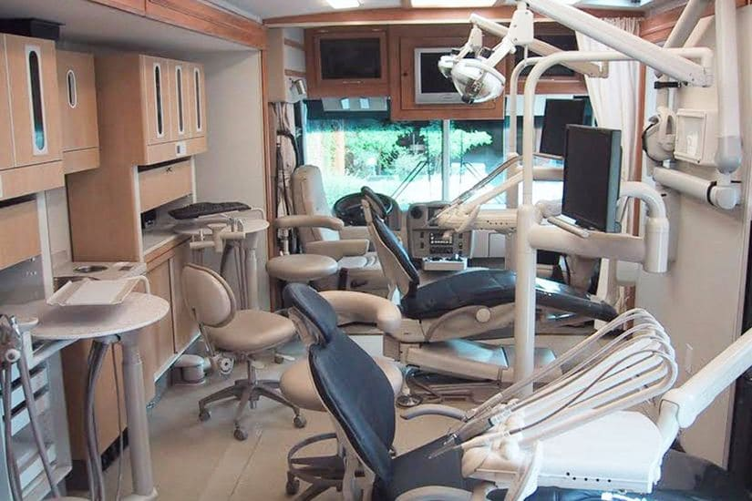 interior of mobile dentistry carrier