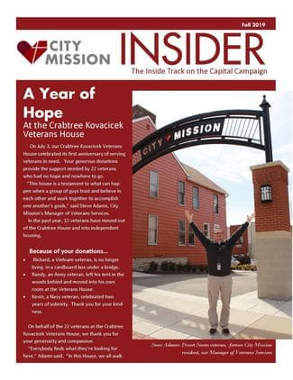cover of october 2019 newsletter - photo of Steve Adams - House Coordinator for the Crabtree-Kovacicek Veterans House