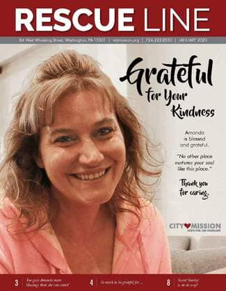cover of january 2020 newsletter - pictures resident Amanda, now departing the Mission