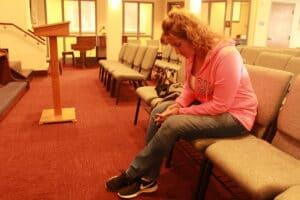 Resident Amanda in quiet meditation