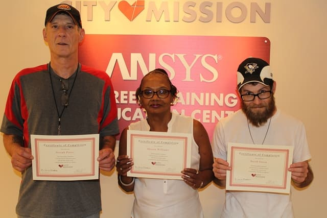 3 City Mission residents receive training certificates