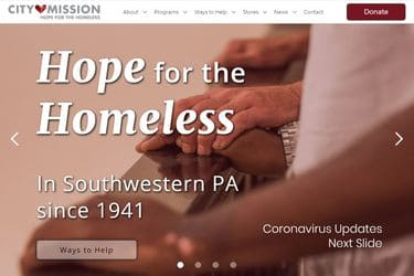 City Mission's website homepage