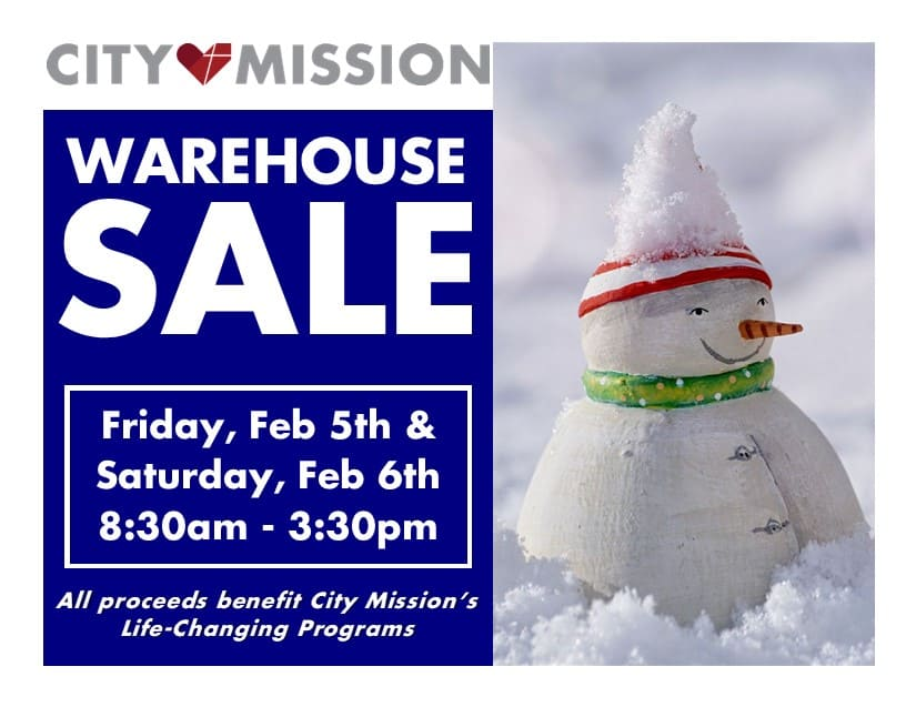 Warehouse Sale - Friday February 5th and Saturday February 5th; 8:30 a.m to 3:30 p.m.