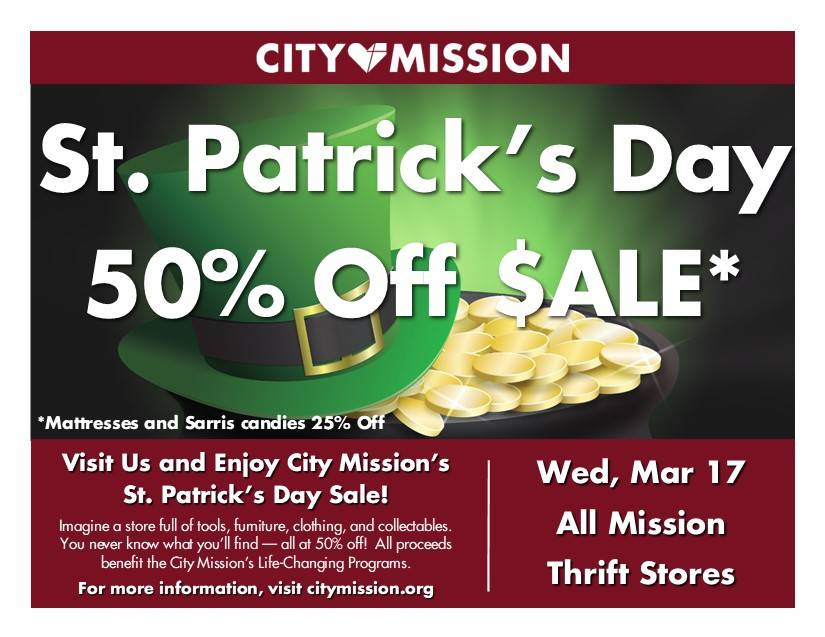St. Patrick's Day Sale - All City Mission Thrift Stores; 50% Off; Tuesday March 17th