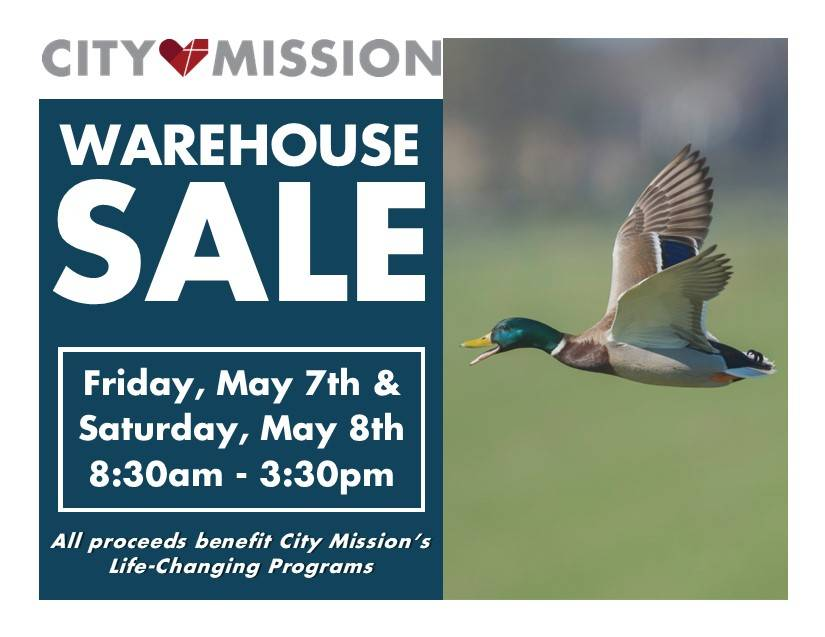 Warehouse Sale - Friday May 7th and Saturday May 8th; 8:30 a.m to 3:30 p.m.