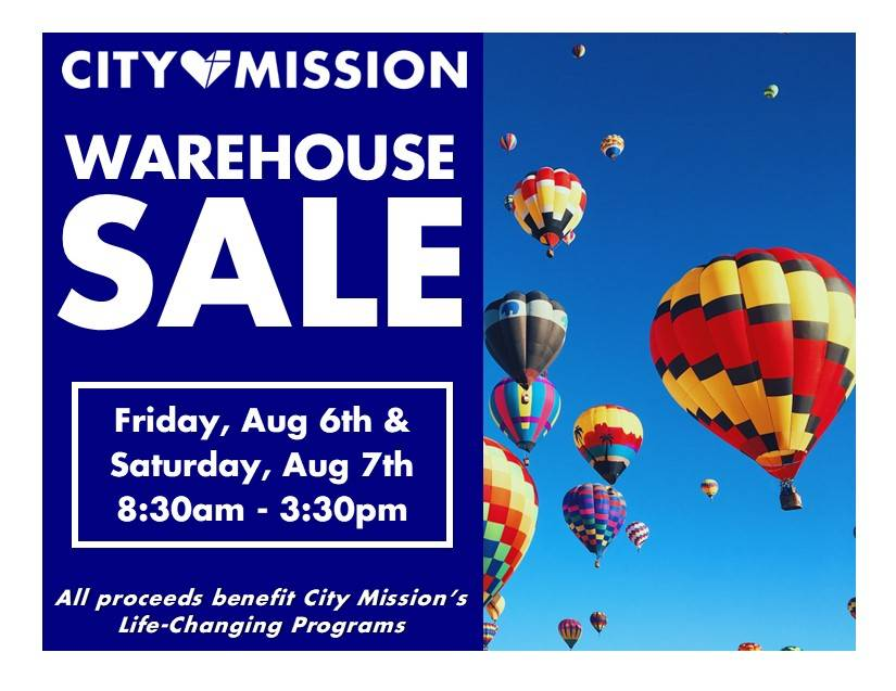 City Mission's Summer Warehouse Sale - Aug 6, 78 - 8:30am to 3:30pm