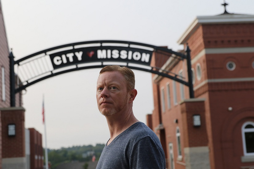 City Mission resident, Matt, in front of City Mission