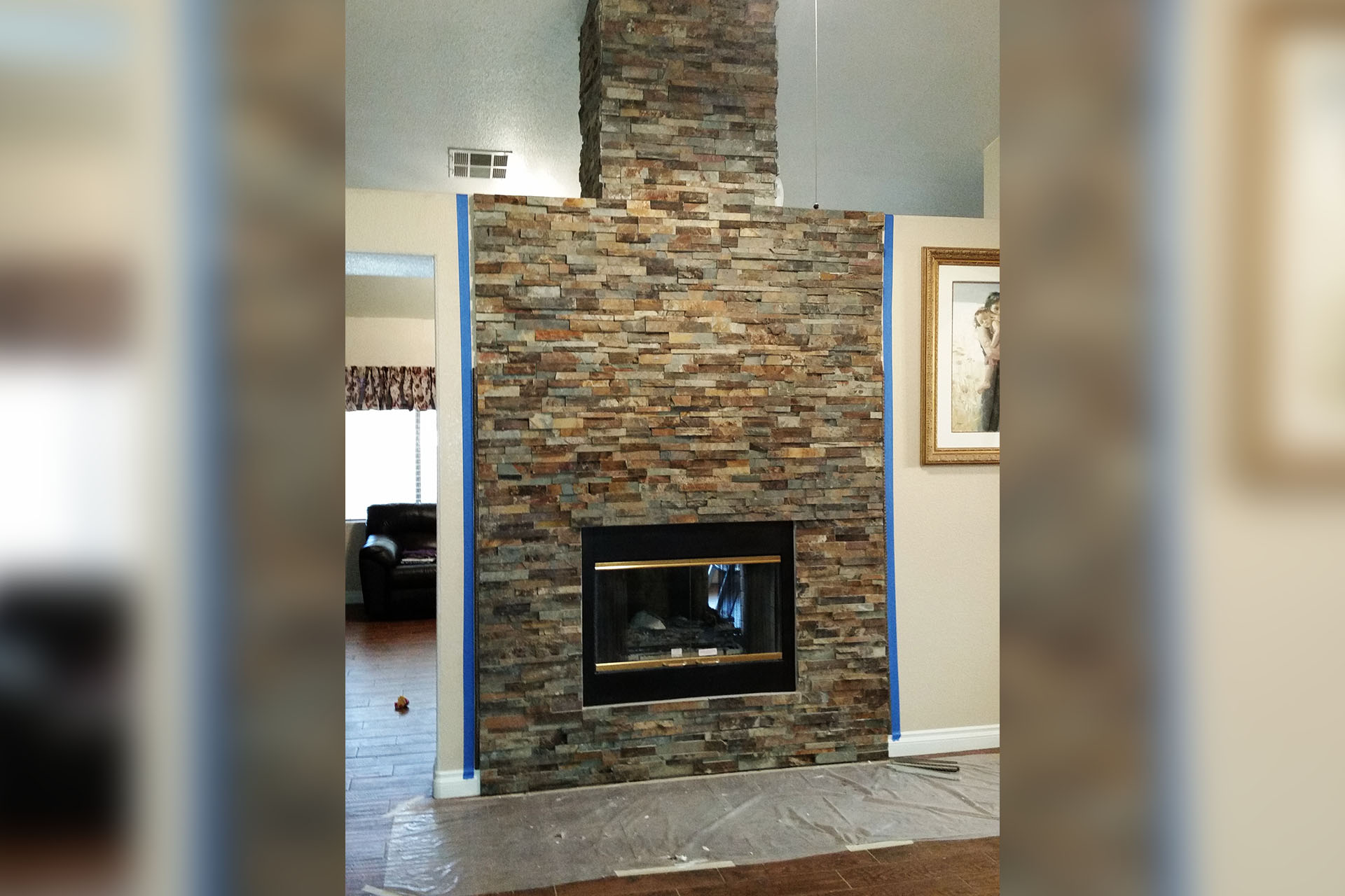 View Fireplace Stone Tile Install