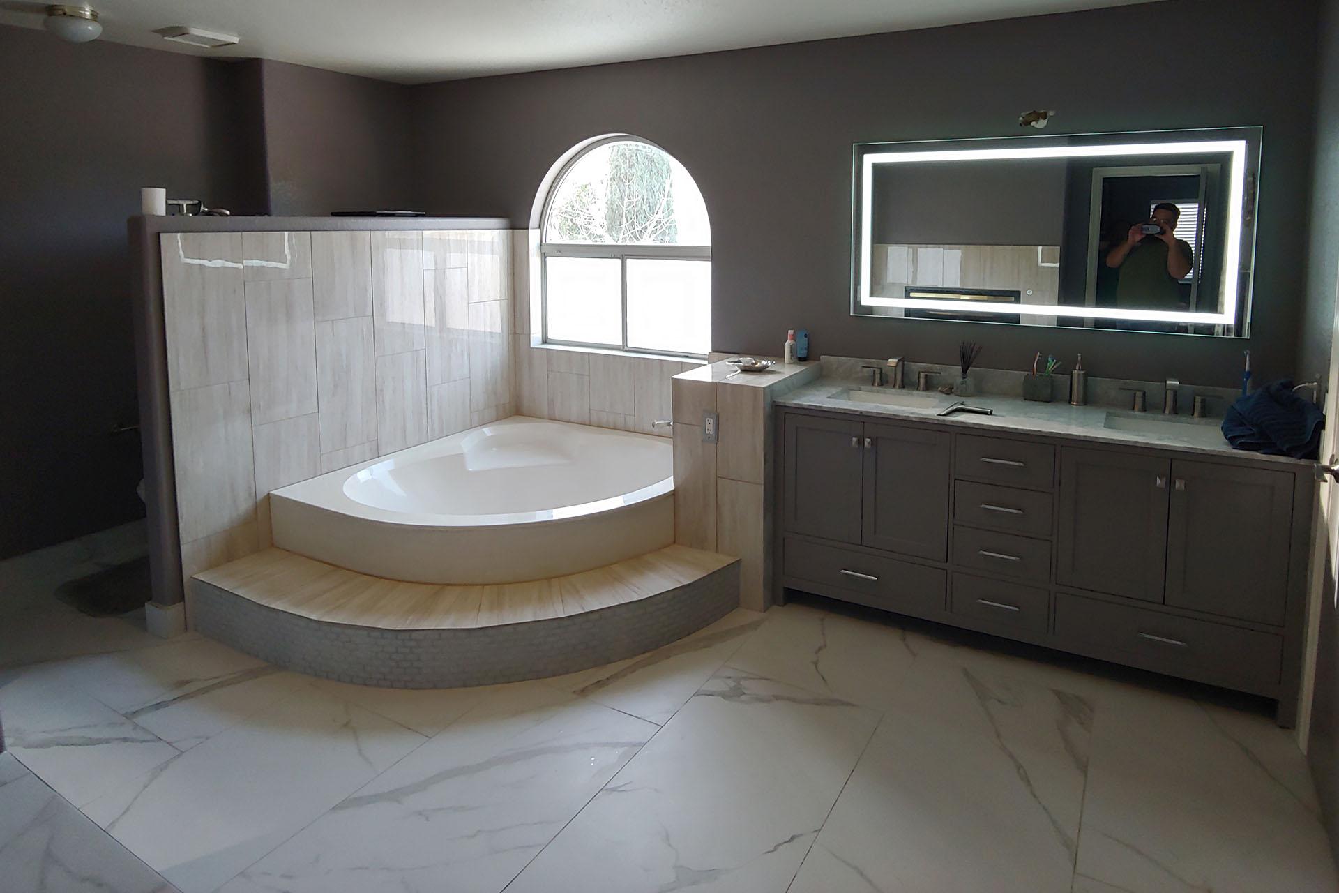 View White Master Bathroom Renovation