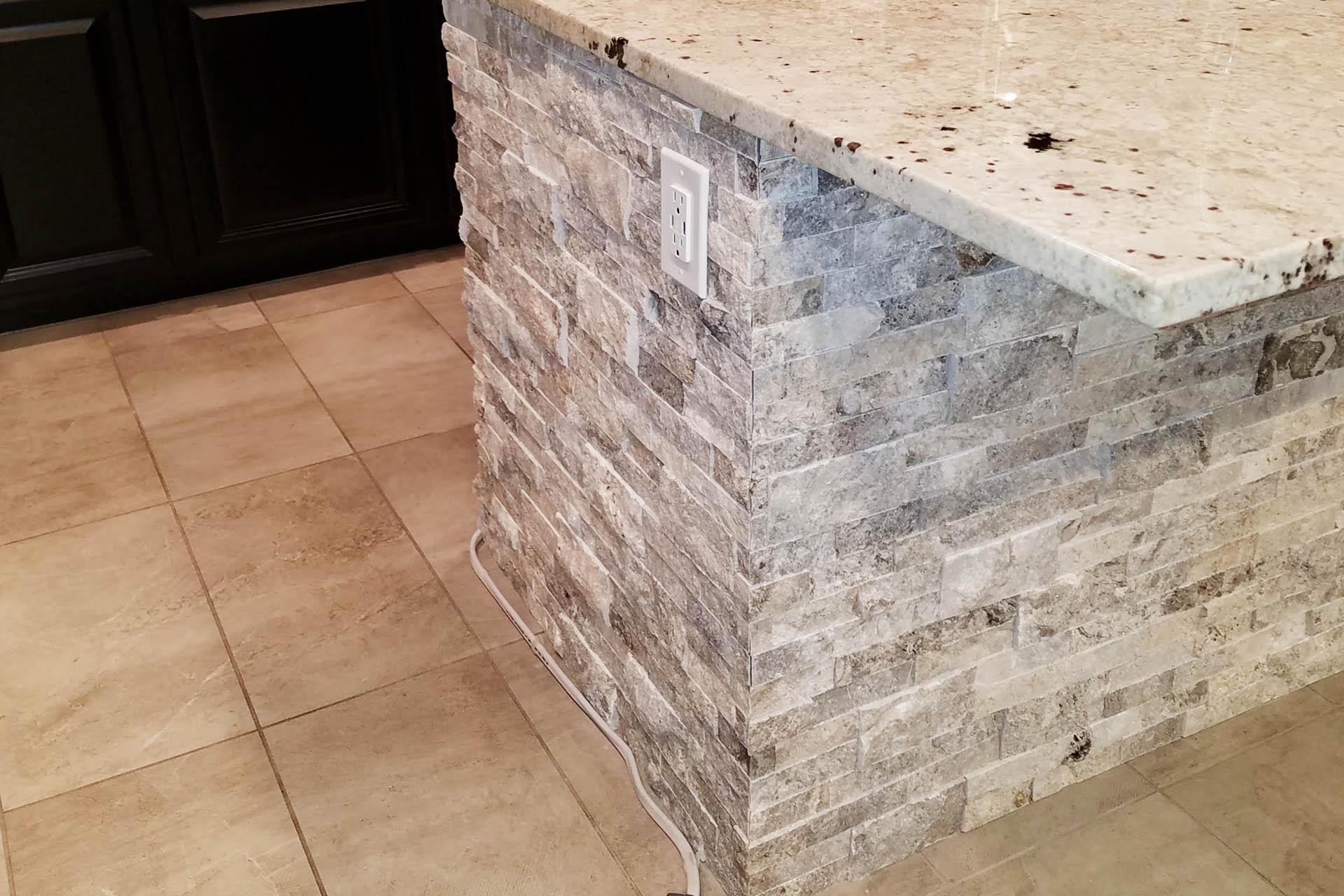 View Kitchen Counter Stone Veneer Installation